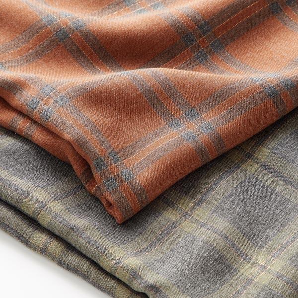 Tissu de chemisier viscose double carreau lurex – caramel/gris