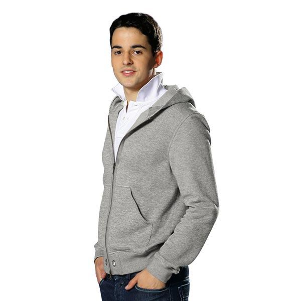 Jersey de coton gratté Uni chiné – gris foncé