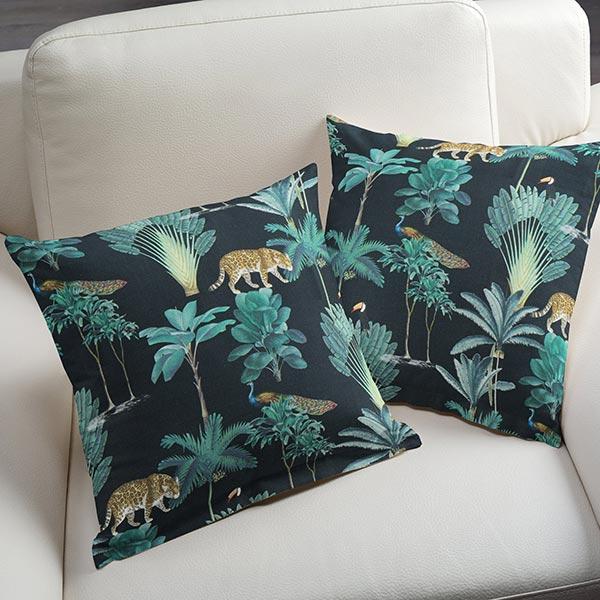 Tissu de décoration semi-panama Jungle – noir