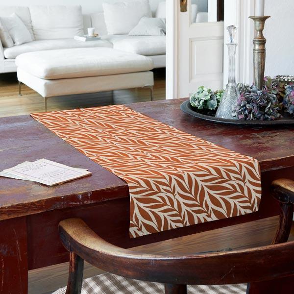 Tissu de décoration Semi-panama Feuilles – rouge rouille