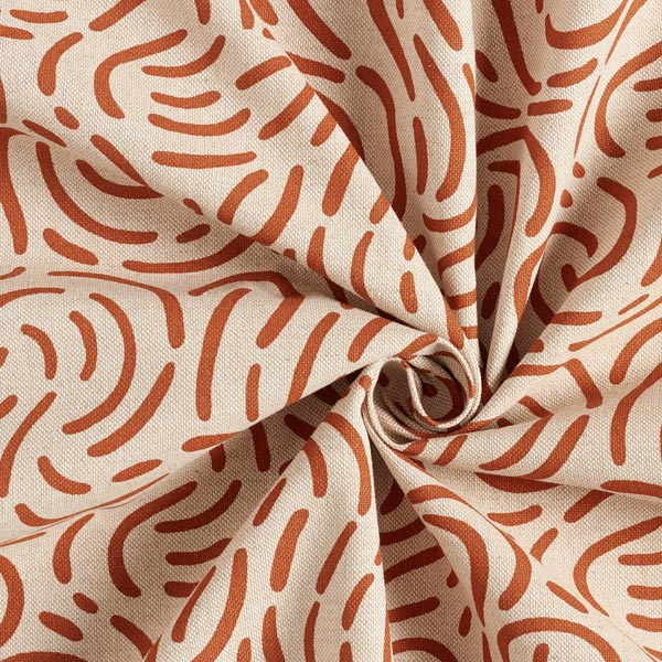 Tissu de décoration Semi-panama Petit rond – rouge rouille