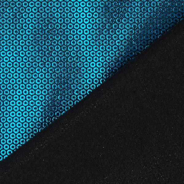 Jersey feuille Aspect paillettes – bleu