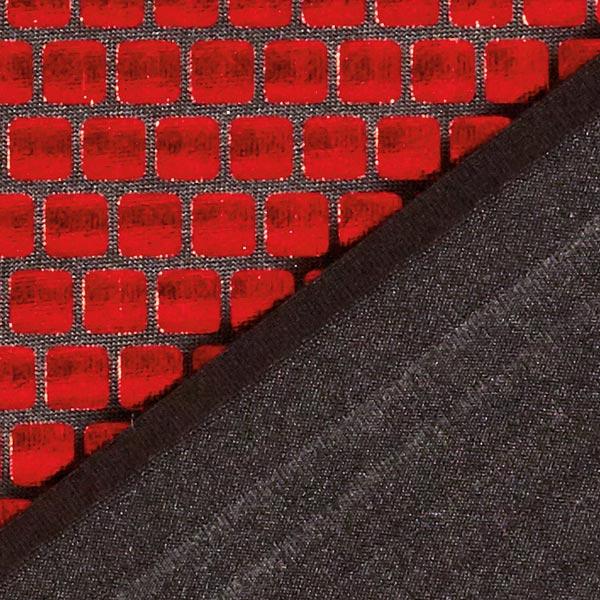 Jersey feuille Carrés 6 x 6 mm – rouge vif