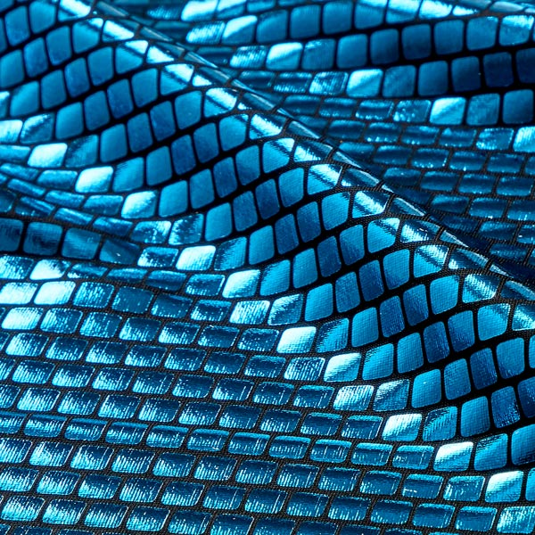 Jersey feuille Carrés 6 x 6 mm – bleu turquoise