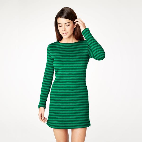 Tissu sweatshirt gratté Rayures 10mm – vert herbe
