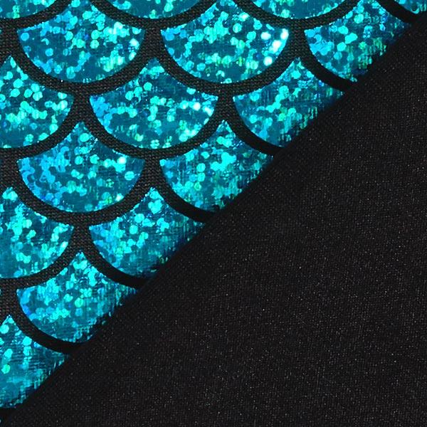Jersey feuille Écailles grand – bleu turquoise