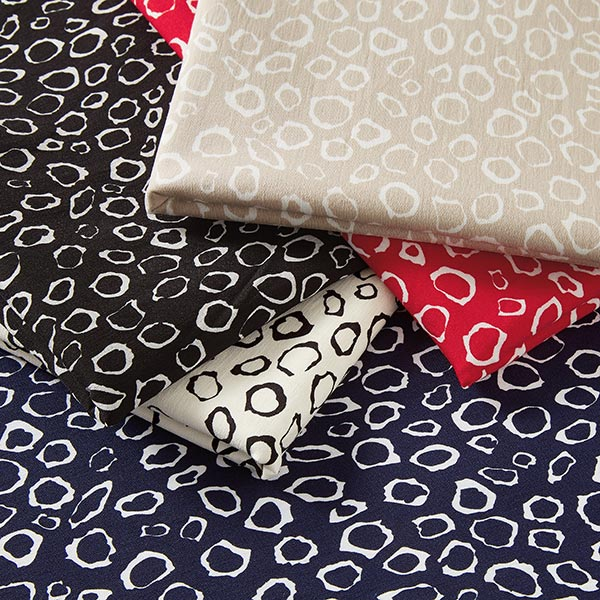 Tissu de pantalon stretch Cailloux – carmin/blanc
