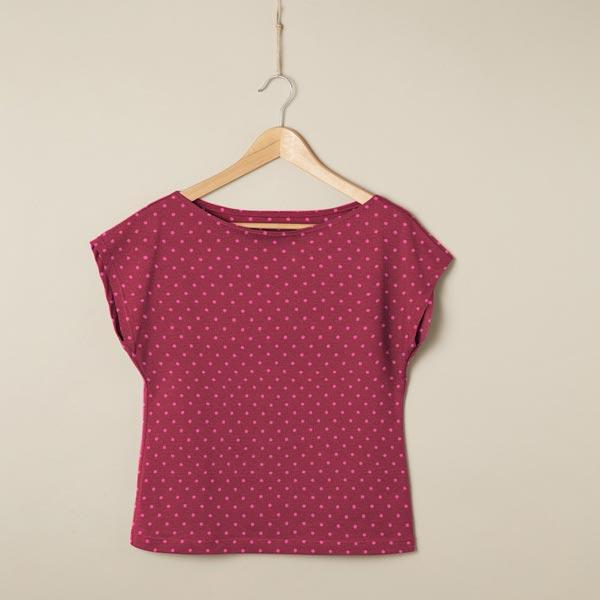 Jersey coton Petits points – pourpre/rose vif