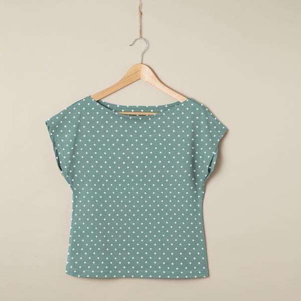 Jersey coton Petits points – vert menthe/bleu clair