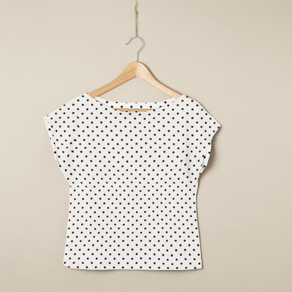 Jersey coton Petits points – écru/noir