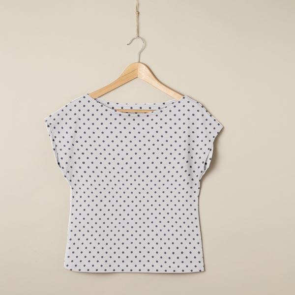 Jersey coton Petits points – gris clair/gris