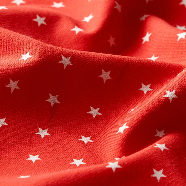 Jersey coton Petites étoiles – rouge/blanc