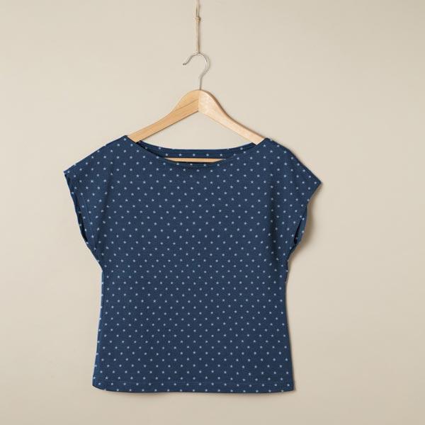 Jersey coton Petites étoiles – bleu marine/bleu jean