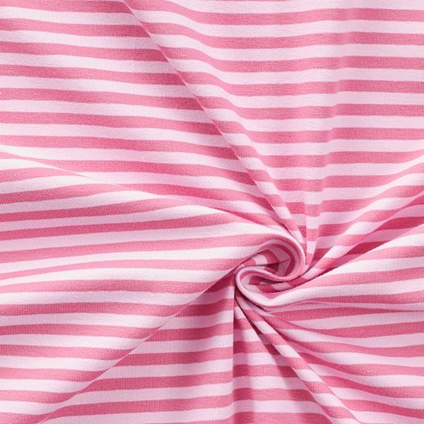 Jersey coton Rayures étroites – vieux rose/rose