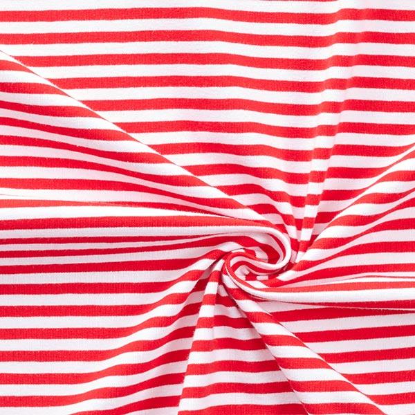 Jersey coton Rayures étroites – rouge/blanc