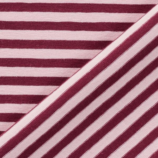 Jersey coton Rayures étroites – rouge bordeaux/rose