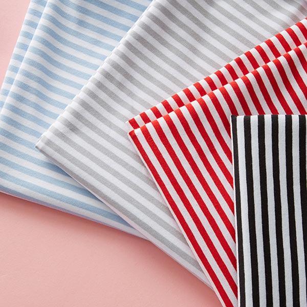 Jersey coton Rayures étroites – noir/blanc