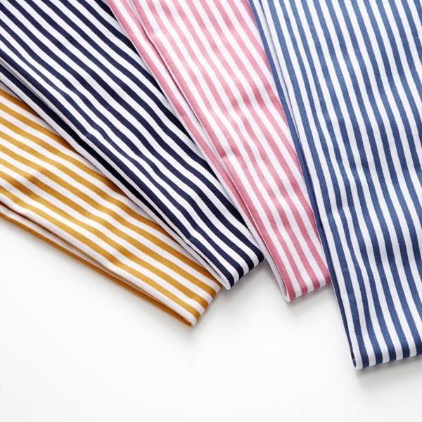 Jersey coton Rayures étroites – bleu jean/blanc