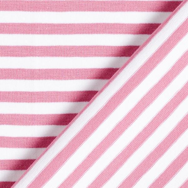Jersey coton Rayures étroites – vieux rose/blanc