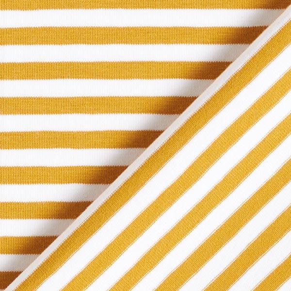 Jersey coton Rayures étroites – moutarde/blanc