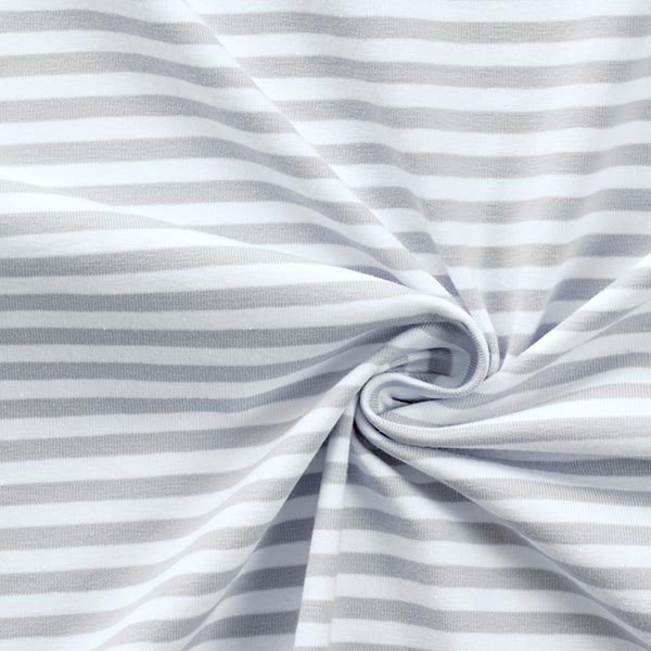 Jersey coton Rayures étroites – gris clair/blanc