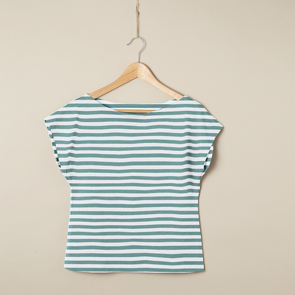 Jersey coton Rayures larges – vert menthe/blanc