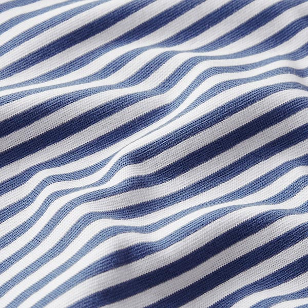 Tissu bord-côtes tubulaire Rayures étroites – bleu jean/blanc