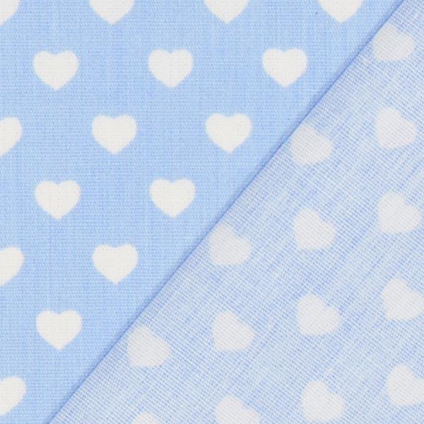 Popeline Cœurs miniature – bleu clair