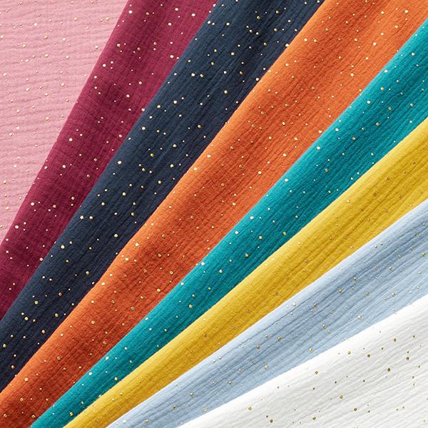 Tissu double gaze de coton taches dorées éparses – bleu clair/or