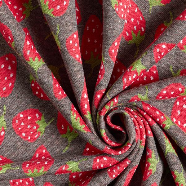 Jersey Jacquard Fraises – gris/rouge