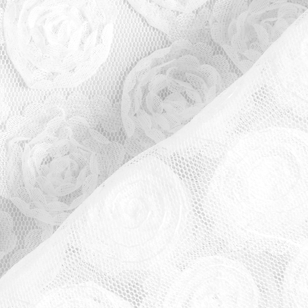 Softmesh Broderie florale 3D Roses – blanc