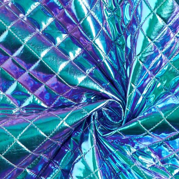 Tissu feuille matelassé holograohic – turquoise