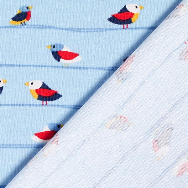 Jersey coton Ligne d'oiseaux – bleu bébé