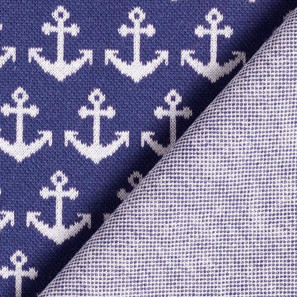 Jersey Jacquard Ancre [0,6 cm] – bleu marine