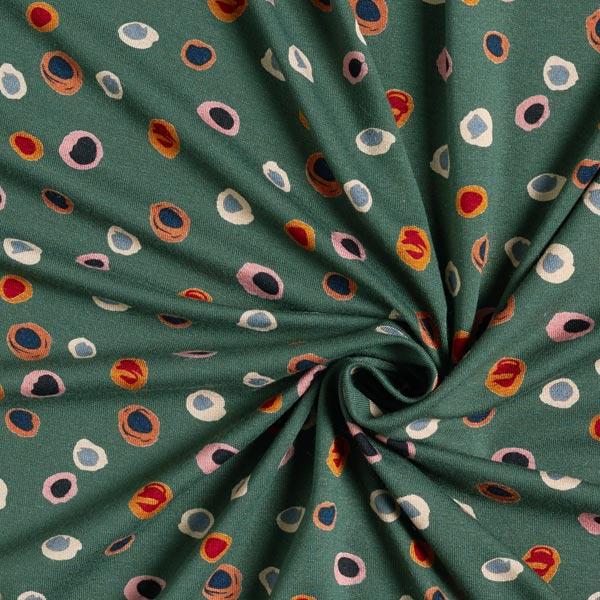 Jersey viscose Taches multicolores – vert foncé