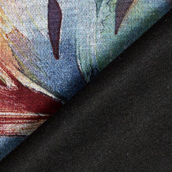 Jersey romanite Feuilles aquarelle – pétrole/noir