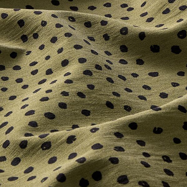 Tissu stretch mélange viscose points – olive/noir