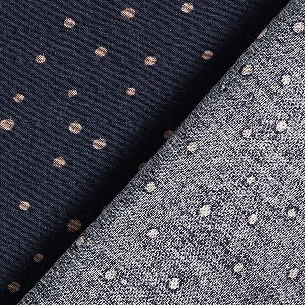 Tissu de chemisier viscose petits points – bleu marine/beige