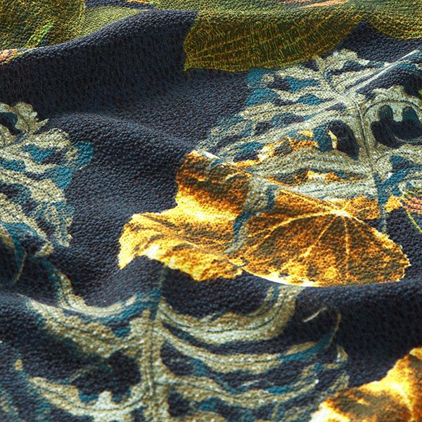 Polyester crêpe forêt tropicale – bleu marine
