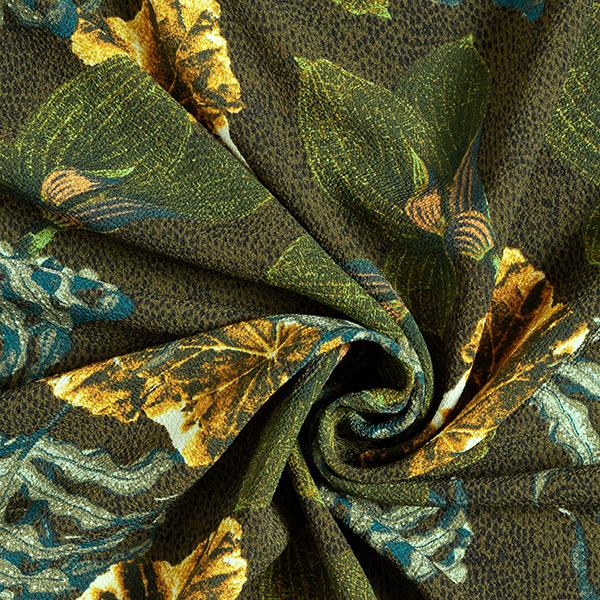 Polyester crêpe forêt tropicale – olive foncé