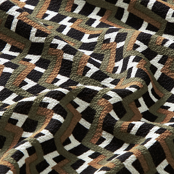 Polyester crêpe rayures rétro – noir