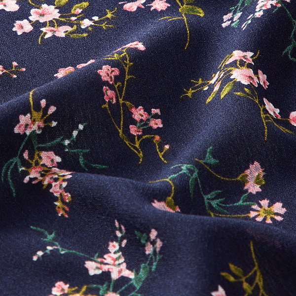 Tissu de chemisier viscose fleurs froissé – bleu marine
