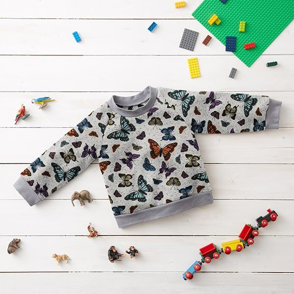 Polaire alpin Papillons multicolores – gris clair