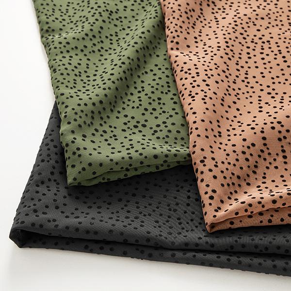 Polyester imprimé floqué chiffon points – olive foncé