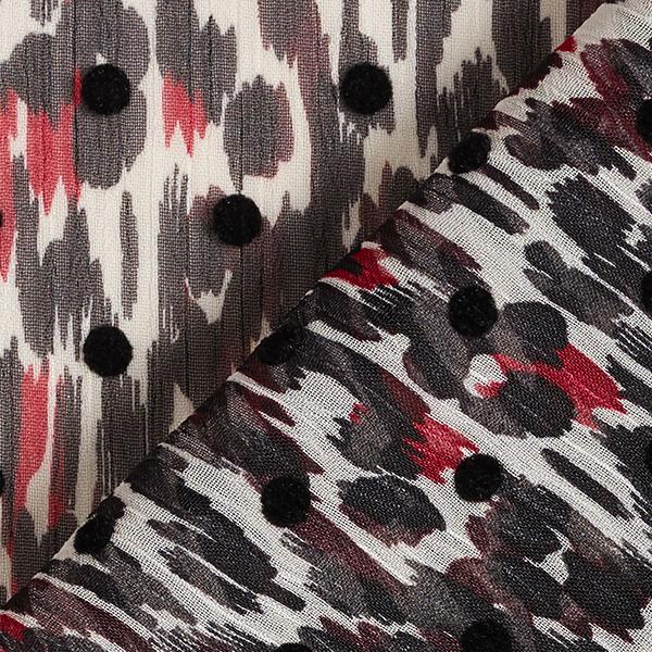 Crêpe chiffon imprimé floqué motif léopard & points – rouge/noir