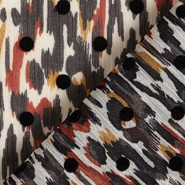 Crêpe chiffon imprimé floqué motif léopard & points – curry/noir