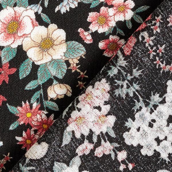 Tissu de chemisier viscose fleurs sauvages froissé – noir
