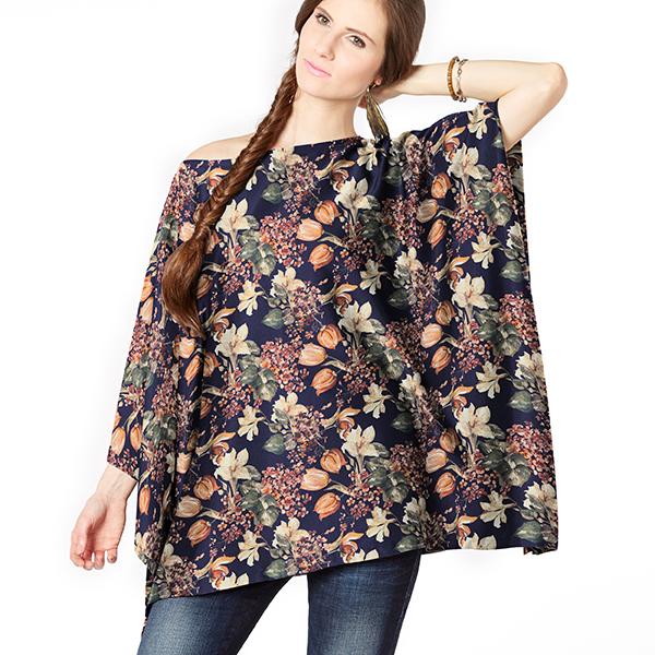 Lyocell tissu de chemisier et robes bouquet de tulipes – bleu marine