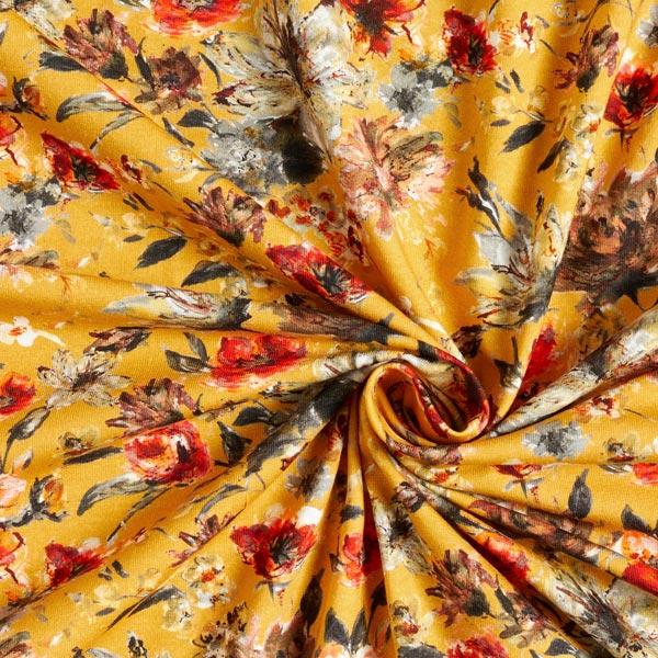 Jersey coton Peintures de fleurs – moutarde/terre cuite