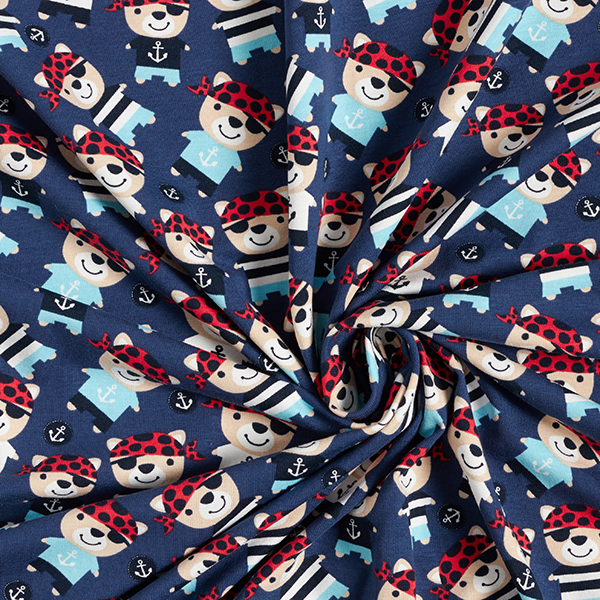 Jersey coton Oursons pirates – bleu marine